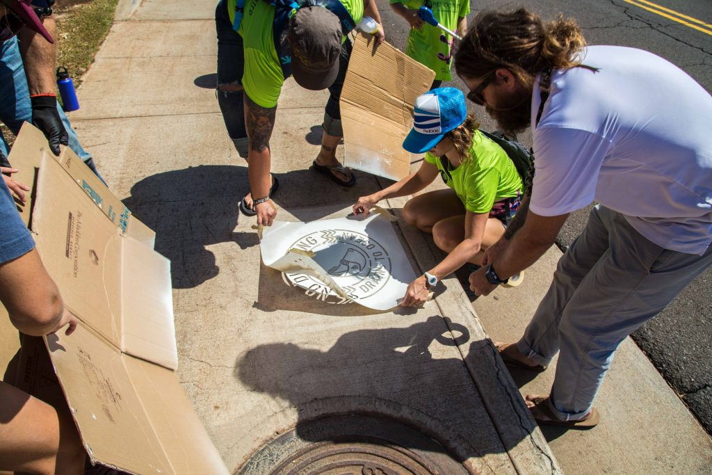 Storm Drain Stencil Event - MOCMI Tommy Cutt with volunteers