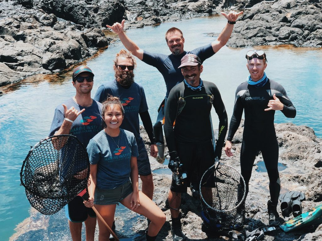 From left to right: Dustin, Aleysa, and Tommy of MOC Marine Institute, and Jim, Josh, and Paul of Maui Ocean Center