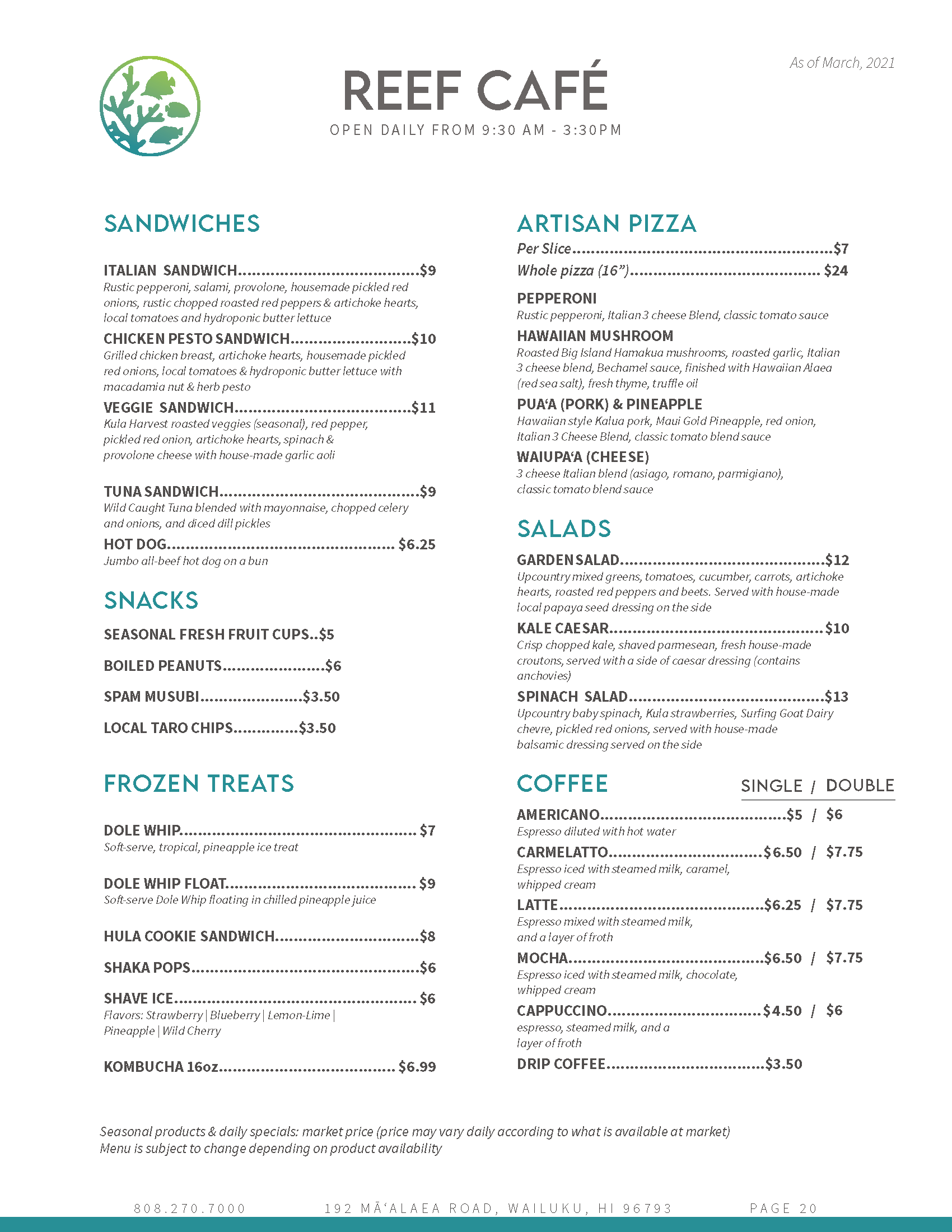 Reef Cafe menu